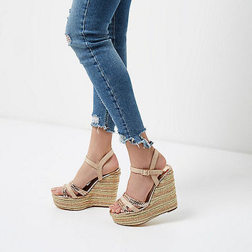 Gold metallic espadrille platform wedges - Sandals - Shoes & Boots - women