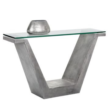 CASPER V-SHAPED GREY CONCRETE WITH TEMPERED GLASS TOP  CONSOLE TABLE