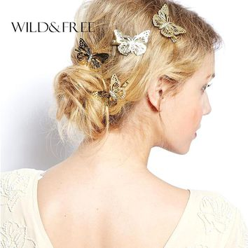 Women New 1pcs Butterfly Bride Hair Pins Jewelry Zinc Alloy Bright Gold Color  Hair Accessories For Girls Lover Gift