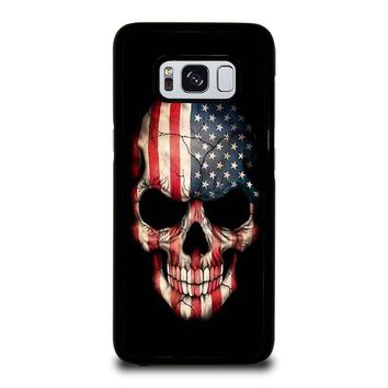 AMERICAN FLAG SKULL Samsung Galaxy S3 S4 S5 S6 S7 Edge S8 Plus, Note 3 4 5 8 Case Cover