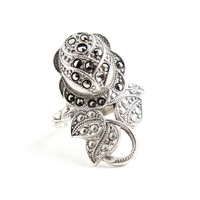 Antique Art Deco Rose Marcasite Ring -  1920s 1930s Size 7 Sterling Silver Designer Clark & Coombs Jewelry / Long Stemmed Flower