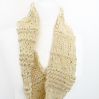 Cream scarf, gold sequined hand knit infinity acrylic and wool scarf, UK shop