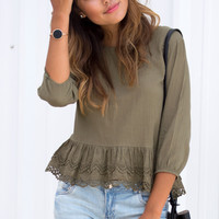 Let's Talk About Eyelet Long Sleeve Top - Olive