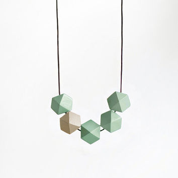 Geometric Necklace / Boho Necklace / Wooden Necklace/  Mint White (Beige) Necklace