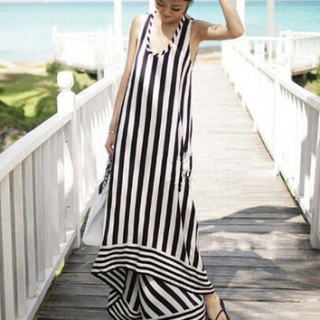 White and Black Strappy Halter Striped Asymmetrical A-Line Maxi Dress