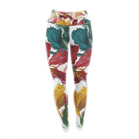 "Lydia Martin ""Flower Power"" Floral Rainbow Yoga Leggings"