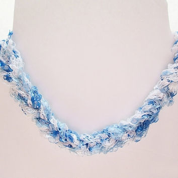 Ribbon Yarn Necklace, Trellis Yarn Necklace, Ladder Yarn Necklace, Sky Blue And White