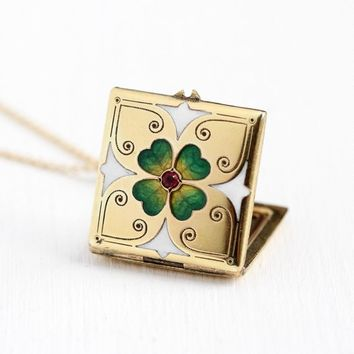 Antique Clover Locket - Early 1900s Gold Filled Simulated Ruby Fob Pendant - Four Leaf Edwardian Green Guilloche Enamel Irish Luck Jewelry