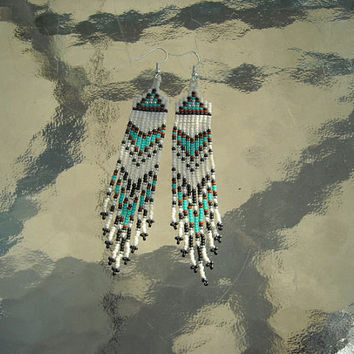 Native American Inspired  Seed Beaded Earrings - Turquoise Blue, Brown, Black and Bone Seed Beads