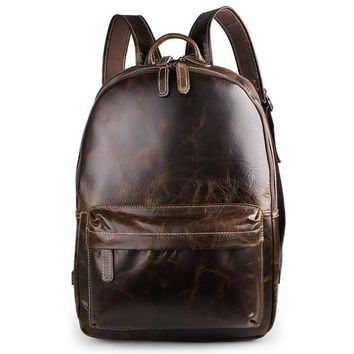 Nesitu Vintage Real Skin Genuine Leather Men's Backpack 14 inch Laptop Bag Men Travel Bags #M7273
