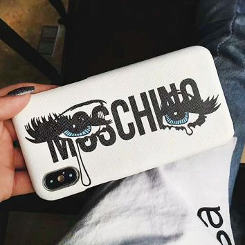 Moschino Fashion New Letter Lip Print Glasses Women Men Phone Case Protective Cover White