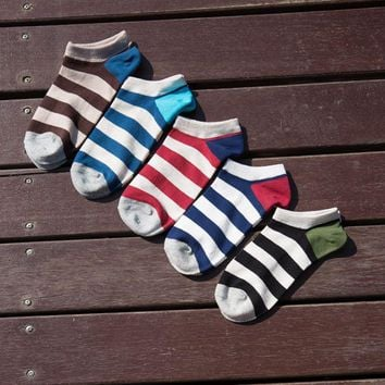PEONFLY Classic stripe Spring and Fall Contrast Color Grid Male Slippers Men Casual Invisible Socks Soft Cotton Men's Boat Socks