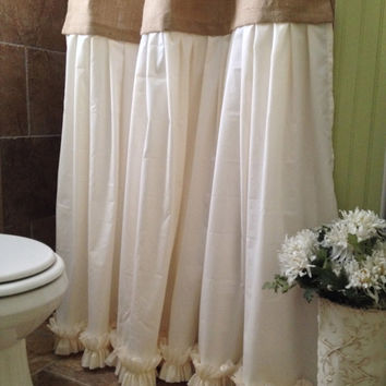 Burlap Shower Curtain - Shabby Chic - Burlap & Cotton Gathered Shower Curtain