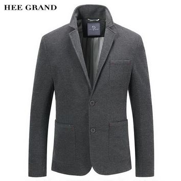 HEE GRAND Men Casual Blazer 2017 New Arrival Whole Cotton Material Single Breasted Spring Autumn Solid Color Suit MWX387
