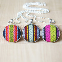 Stripe Pendant Necklace Button jewelry Colorful pendant Necklace Fabric Jewelry Europeanstreetteam