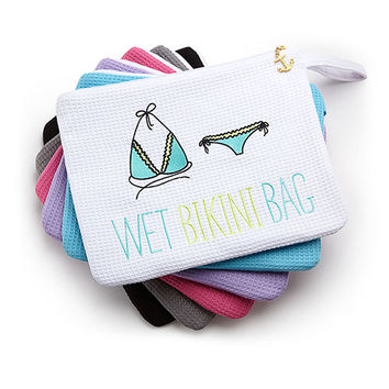 Waffle Wet Bikini Bag - White - The Knot Shop