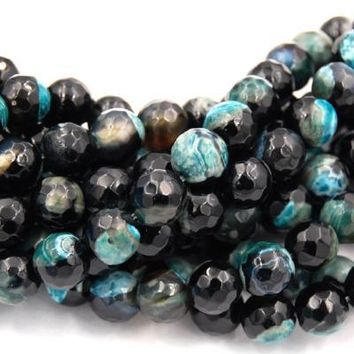 """Fire Agate in 8mm Faceted Teal Green Espresso,  - 15"""" strand"""