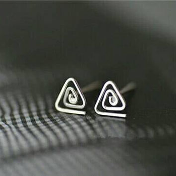 Minimalist Earrings - Triangle Earrings - Sterling Silver Earrings - Spiral Earrings - Modern Earrings -  Small Stud Earrings