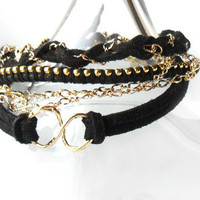 Infinity Bracelet Black Gold Friendship Bracelet stacks, ball chain, suede leather set of three trendy Metallic