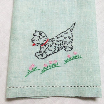 Green Linen Towel Embroidered Scottie Dog