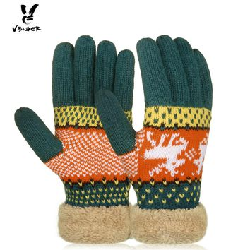 VBIGER Women Knitted Winter Thick Gloves Female Full Finger Mittens Warmer Gloves Christmas Deers Gloves with Plush Cuffs