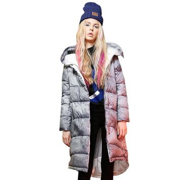 Elf SACK w winter women's loose vintage ink pattern with a hood down coat female long design