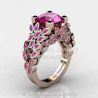 Art Masters Nature Inspired 14K Rose Gold 3.0 Ct Pink Sapphire Amethyst Engagement Ring Wedding Ring R299-14KYGAMPSS