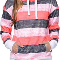 Empyre Isabel Coral Stripe Pullover Tech Fleece Jacket