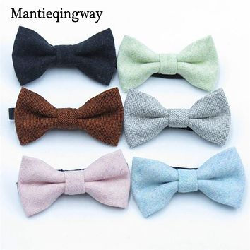 Children Wool Bow Tie For Baby Boys Skinny Bow Tie Solid Color Child Collar Kids Ties