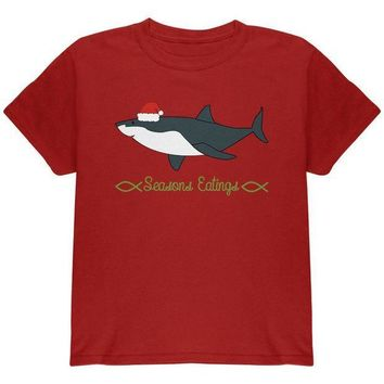 CREYCY8 Christmas Shark Seasons Greetings Funny Pun Youth T Shirt