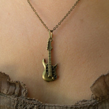 Guitar necklace-  Antique bronze guitar necklace- Rock and roll necklace- Music necklace- Electric guitar necklace- Guitar- Rock & Roll