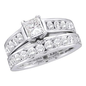 14kt White Gold Women's Princess Diamond Solitaire Bridal Wedding Engagement Ring Band Set 1.00 Cttw - FREE Shipping (US/CAN)
