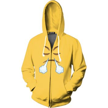 Emoji Pissed Off Zip Up Hoodie