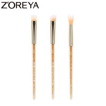 Zoreya Brand 3pieces/lots crystal Resin handle Nylon hair Eye shadow makeup brushes Concealer brushes  Crease Cosmetic tools