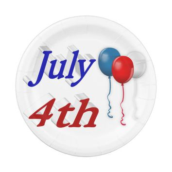July 4th Red White Blue Balloons 3D Paper Plates