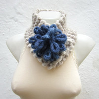 Removeable Brooch Pin -Cowl- Hand Knitted Neck Warmer  - Women  Winter  Accessories Cream Blue