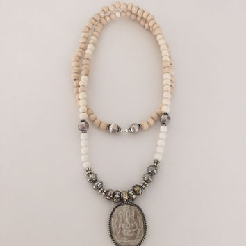 Ganesha & Etched Pearl Necklace