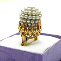 Vintage Pearl Ring, Gold Ring, Vintage Glass Pearl, Marie Antoinette, Statement Ring