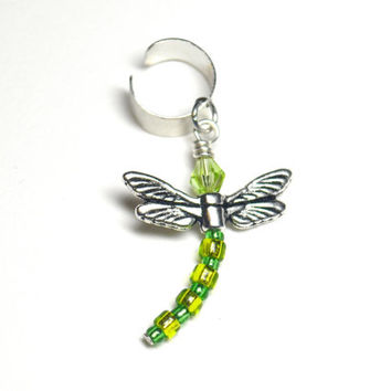 Dragonfly Ear Cuff Peridot Green With Japanese Seed Beads and Swarovski Crystal Piercing Free Small Gift