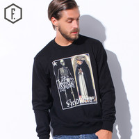 Men's Fashion Winter Skull Girl Print Long Sleeve Round-neck Hoodies [8822202563]