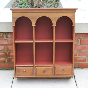 Arched column wood shelf unit with drawers, display cabinet, curio cabinet, wood decor