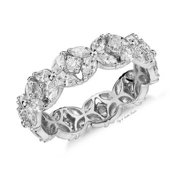 A Perfect 8.1TCW Marquise and Round Cut Lab Diamond Eternity Ring
