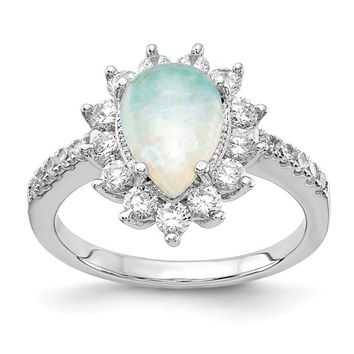 Cheryl M Sterling Silver Opal Pear Halo Ring