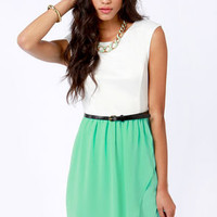 Belt of the Ball Mint Green and Ivory Belted Dress