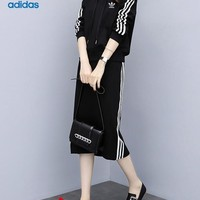 """Adidas"" Women Sport Casual Fashion Letter Print Long Sleeve Hooded Mini Dress"