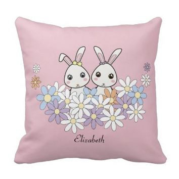 Cute Bunnies Personalized Pink Throw Pillows for Baby Girl Shower, Birthday, or Easter Gift: For Twins, Sisters, or Best Friends