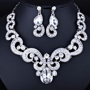 FARLENA Jewelry Exquisite Water Drop Crystal Glass Necklace Earrings Set for Women Wedding Party Cute Bridal Jewelry sets