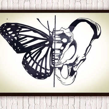 Butterfly + Hip Bone Anatomical Art Poster Print // Geometric Boho Decor - Nature Print  // Bohemian Home Decor Wildlife Art