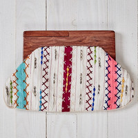 Boho Multi Beaded and Embroidered Wooden Trimmed Clutch