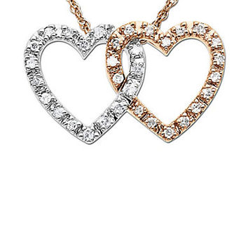 Lord & Taylor Diamond Double Heart Pendant Necklace